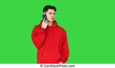 vert, arrêts, écran, jeune, hanche, call/, key., danseur, danse, chroma, houblon, réponse