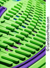 vert, arrière-plan., courant, sportif, plante pied chaussure, noir, textured