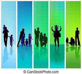 vert bleu, backgrou, familles