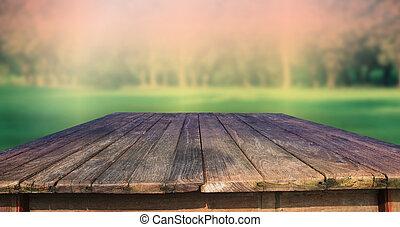 vert, bois, vieux, texture, table
