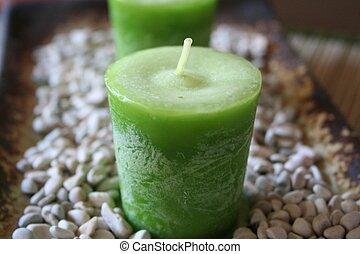 vert, bougies