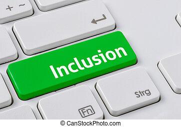 vert, bouton, clavier, -, inclusion