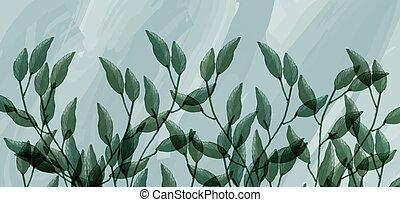 vert, branches, fond, aquarelle, feuilles