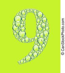 vert, bulles, neuf