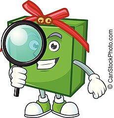 vert, cadeau, style, caractère, dessin animé, une, détective, oeil, boîte