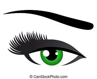 vert, cils, oeil, long