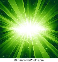 vert clair, étoiles, éclater