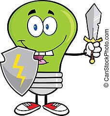 vert clair, guarder, épée, ampoule