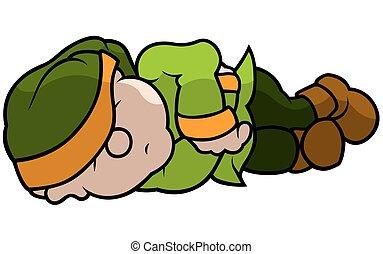 vert, elfe, dormir