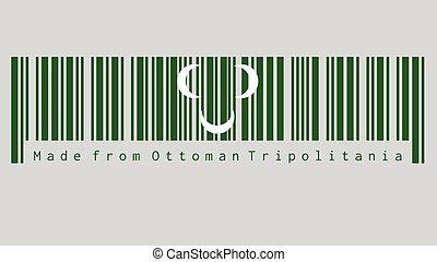 vert, fait, 18ème, blanc, ensemble, couleur, siècle, text:, trois, barcode, croissant, tripolitania, ottoman, flag.