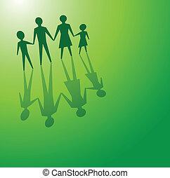 vert, famille, concepts