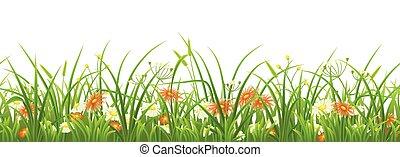 vert, fleurs, herbe, seamless