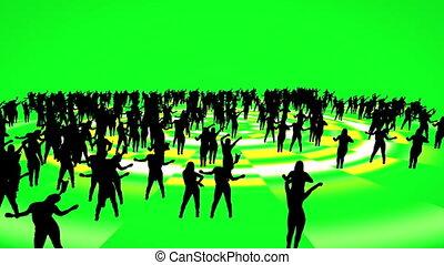 vert, gens, danse, silhouette, écran