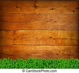vert, grass., chêne, conseils, fond