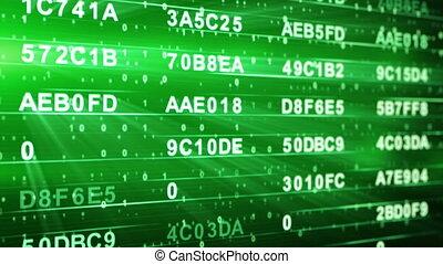 vert, hexadecimal, données, colonnes, boucle