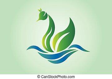 vert, icône, logo, feuille, aile, cygne, vecteur