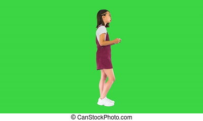 vert, jouant jeu, girl, écran, chroma, gamer, key., peu, vidéo