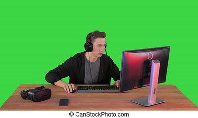 vert, key., gamer, jouer, vidéo, chroma, jeu, excité, ligne, écran