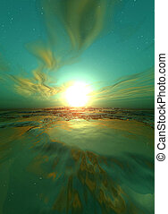 vert, levers de soleil