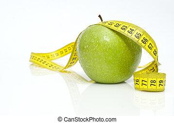 vert, mesuré, pommes, mètre