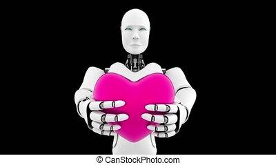 vert, noir, intelligence, futuriste, cgi, artificiel, fond, robot