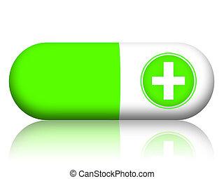 vert, pilule