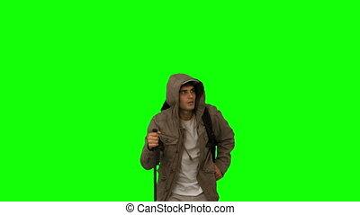 vert, s, homme, manteau, trekking
