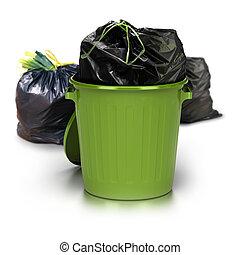 vert, sacs, coup, fond, déchets, sur, côté, -, deux, sac plastique, autre, plus, boîte, fermé, studio, blanc, déchets ménagers, intérieur, arrière, 3d
