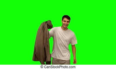 vert, sien, éboulis, tenue, homme, manteau