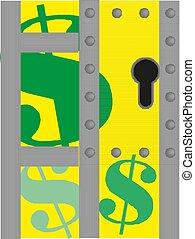 vert, signe., vecteur, dollar, illustration.