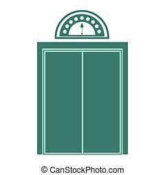 vert, silhouette, porte, fermé, ascenseur