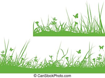 vert, silhouette, pré