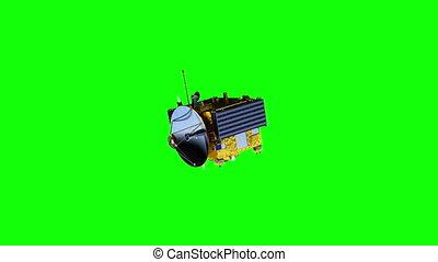 vert, solaire, deploys, satellite, panneaux, écran