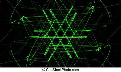 vert sombre, étoile, fond, particule
