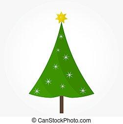 vert, star., arbre, noël