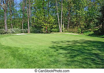 vert, trou, surronded, golf, arbres
