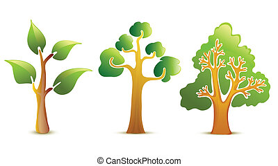vert, vecteur, arbre, icônes