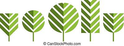 vert, vecteur, arbre, illustration, icônes