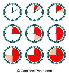 vert, vecteur, charts., horloge, minutes, icônes, rouges