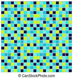 vert, verre, tuiles, bleu aqua
