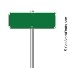 vert, vide, panneau de signalisation