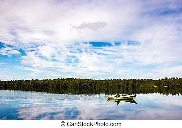 vert, voiles, pêcheur, lac, bateau