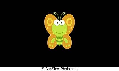 vert, voler, papillon, caractère, boucle, dessin animé
