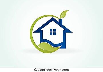vert, vrai, logo, maison, propriété