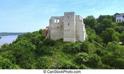 vert, zoom, historique, situé, bâtiment, coup, colline