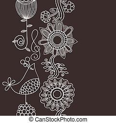 vertical, chant, seamless, modèle, décoration, fleurs, frontière, oiseau