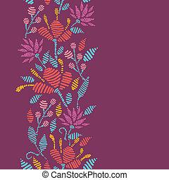 vertical, modèle, emboridered, seamless, fleurs, frontière