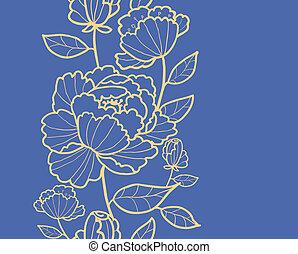 vertical, modèle, feuilles, royal, seamless, fleurs, frontière