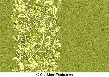 vertical, modèle, feuilles, seamless, fleurs fraîches, frontière