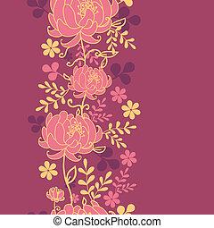 vertical, modèle, feuilles, seamless, fleurs, frontière, rouges